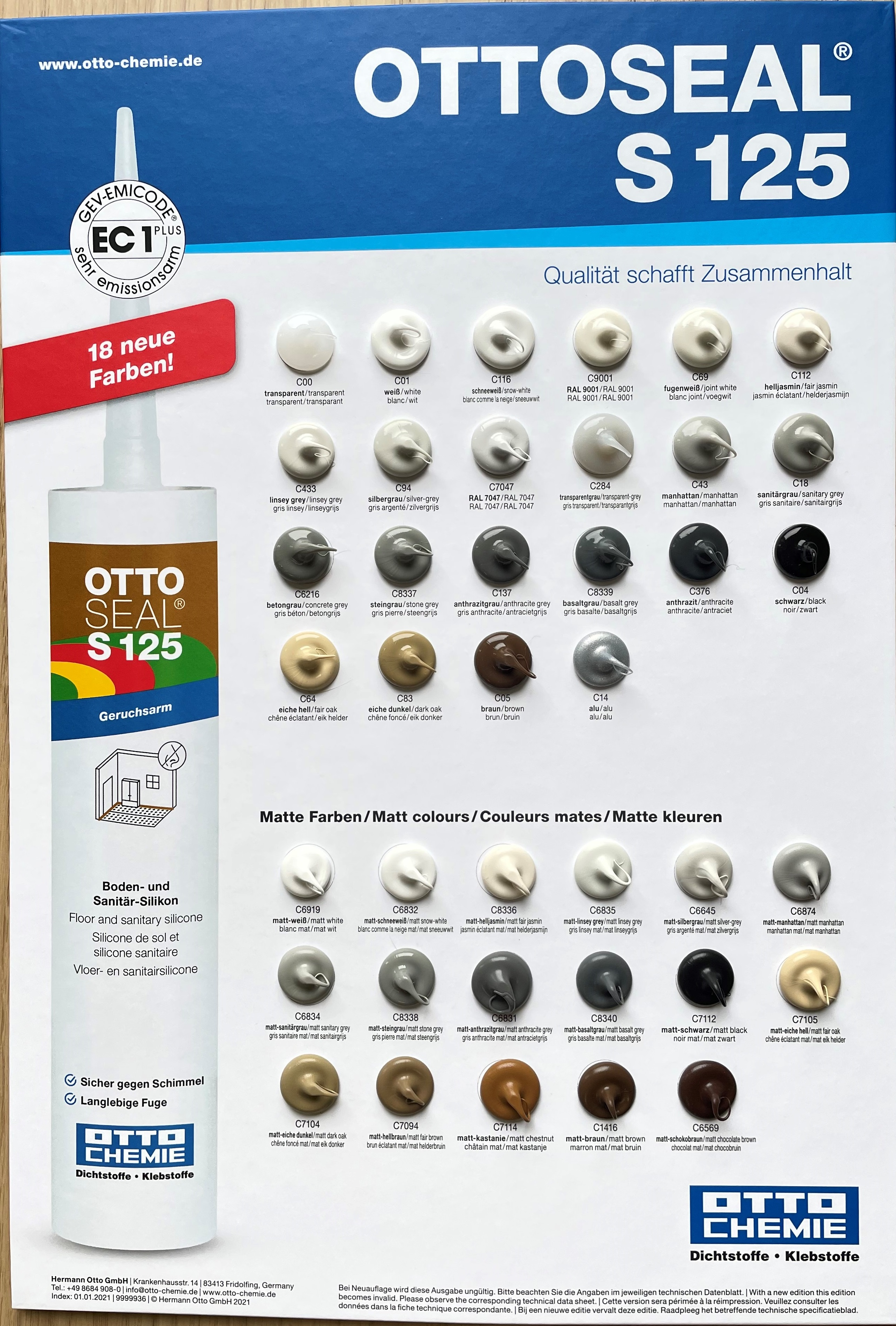 OTTOSEAL S125 Farbkarte