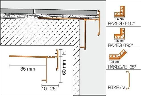 Schlüter BARA-RAKEG Außenecke 90° Randprofil mit Tropfkante